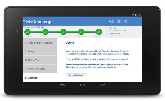 MyConcierge Checkout screen