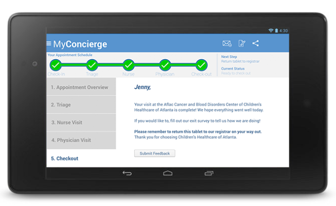 MyConcierge Checkout screen
