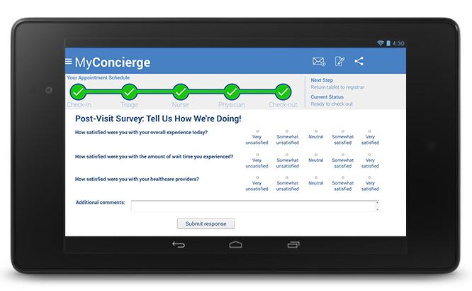 MyConcierge Post-Visit Survey screen