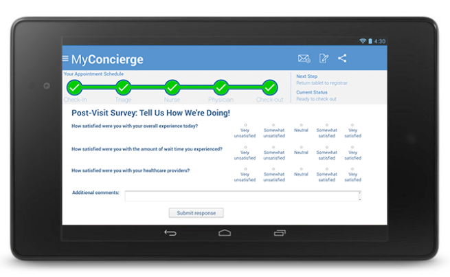 MyConcierge Post-Visit Survey screen