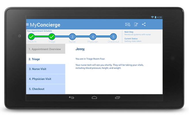MyConcierge Triage screen