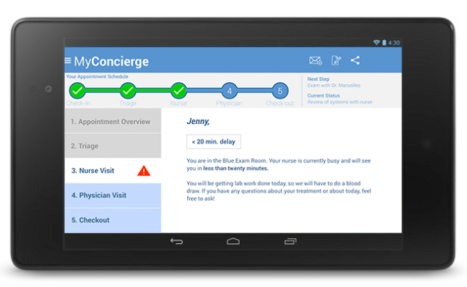 MyConcierge Nurse Visit screen