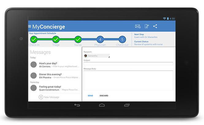 MyConcierge Messages screen