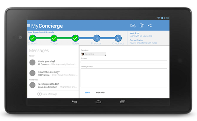 MyConcierge Messages screen