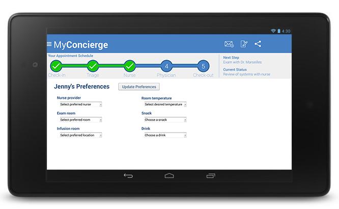 MyConcierge Preferences screen