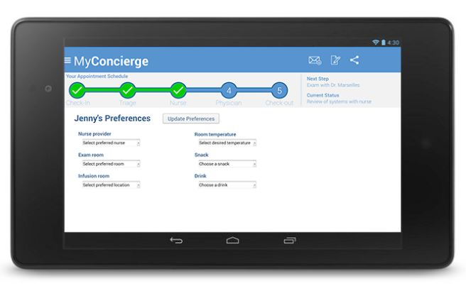 MyConcierge Preferences screen